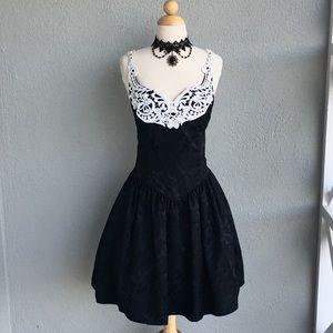 Gothic Steampunk Black Dress White lace accent Sz8